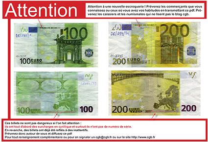 attention 100 et 200 euros truqu s. Black Bedroom Furniture Sets. Home Design Ideas